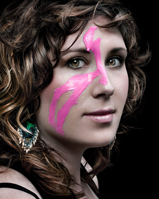 Erin Habes with pink paint on her face