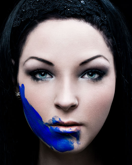 Jessica jean with blue paint on her face