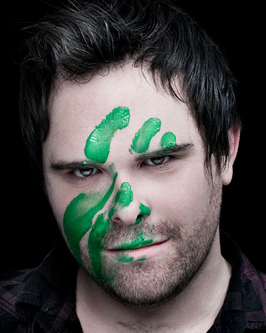Luke COpping with green paint on his face