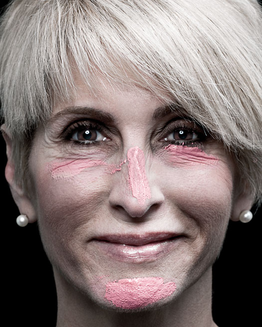 Michele Sharf with pink paint on her face