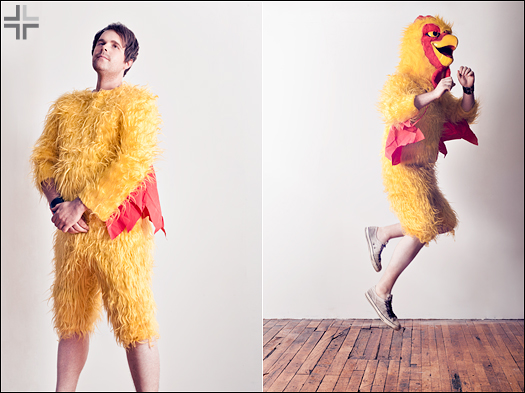 Buffalo Photographer luke copping wearing a chicken suit