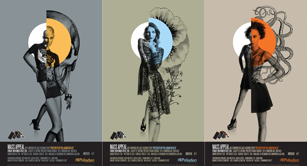 A trio of promotional posters created for mass appeal in con unction with gelia.