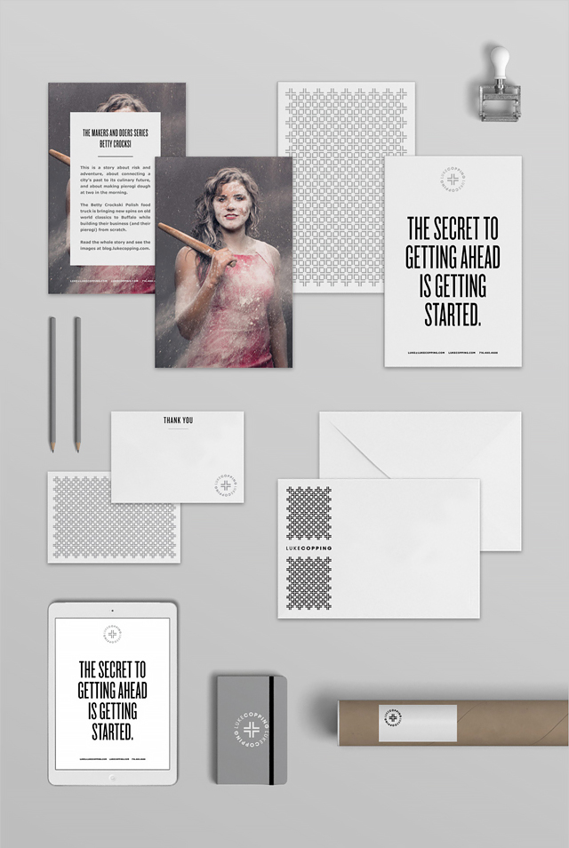 Examples of branding and marketing materials developed by Shauna Haider of We Are Branch developed for Buffalo, NY Photographer Luke Copping