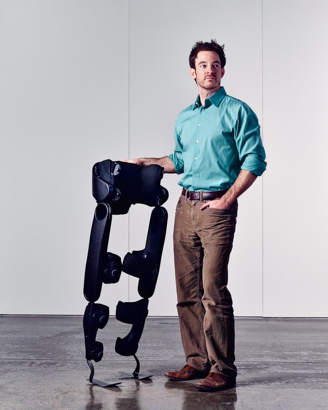 Ryan Farris of Parker Hannifin with his exoskeleton project for Forbes Magazine