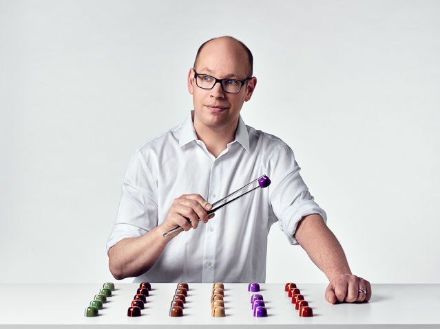 Ben Johnson of Blue Table Chocolates - An Artisinal chcolate maker from Buffalo NY who hand crafts unique and colorful chocolate truffles in a variety of flavors, both exotic and classic