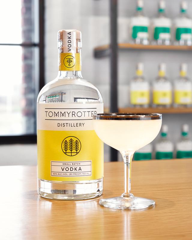 Tommyrotter Distillery Small Batch Vodka alongside a signature Tommyrotter Vesper