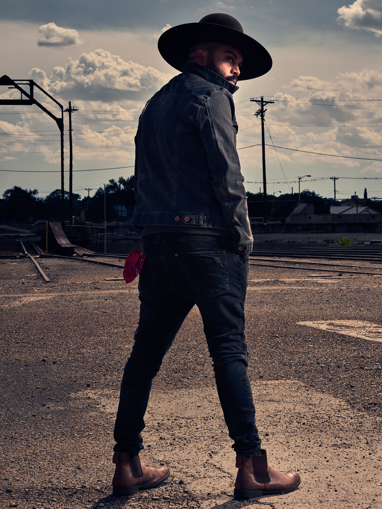 New Mexico folk musician Garry Blackchild photographed at the Albuquerque Rail yards